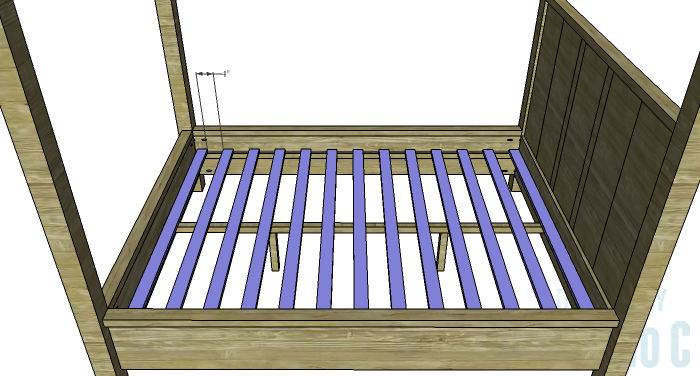 DIY Plans to Build a Waterton Queen Bed-Slats