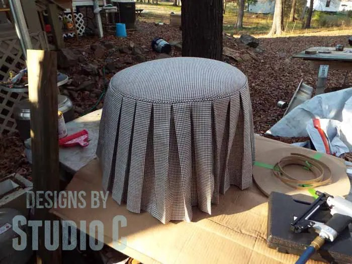 DIY Ottoman or Footstool Using an Old Wooden Spool_Completed Outside