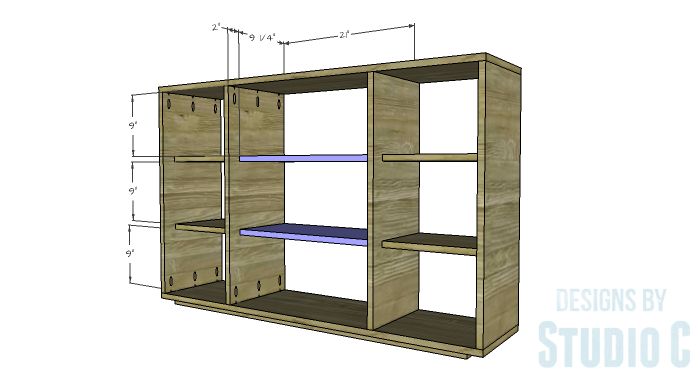 DIY Furniture Plans to Build a Zen Bookcase Media Stand-Center Shelves