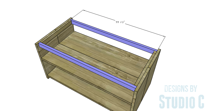 DIY Furniture Plans to Build an Easy Storage Bench-Top Stretchers