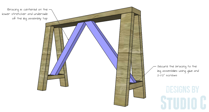 DIY Furniture Plans to Build a Truss-Leg Dining Table-Bracing 2