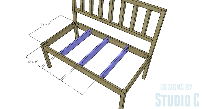 DIY Furniture Plans to Build a Maya Bench - Seat Supports