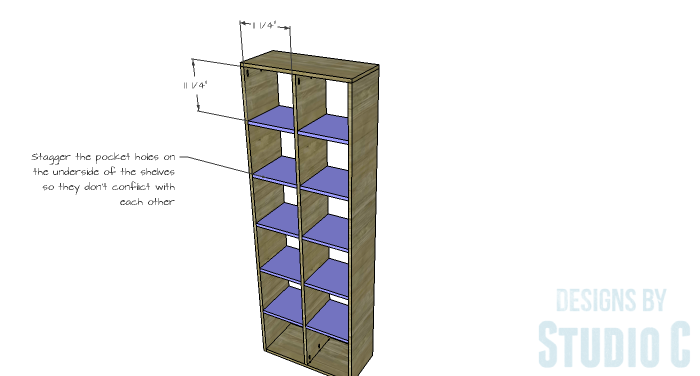 DIY Furniture Plans to Build a Squared Bookcase - Shelves