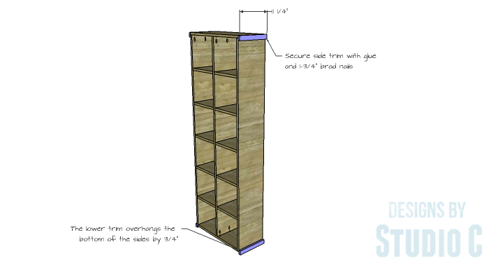 DIY Furniture Plans to Build a Squared Bookcase - Side Trim