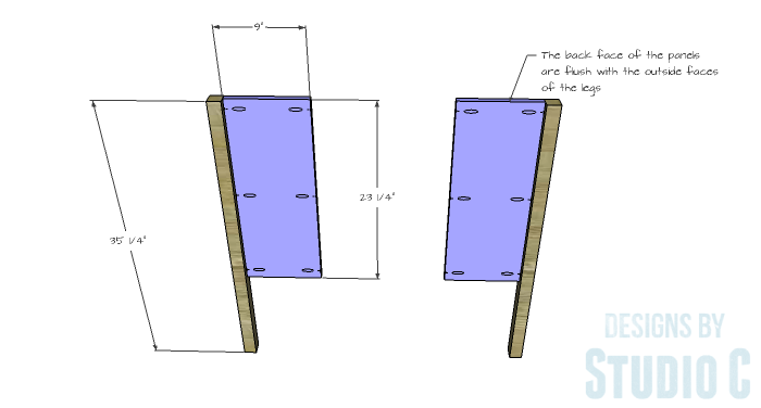 DIY Furniture Plans to Build a Demilune Console Table - Side Panels 1