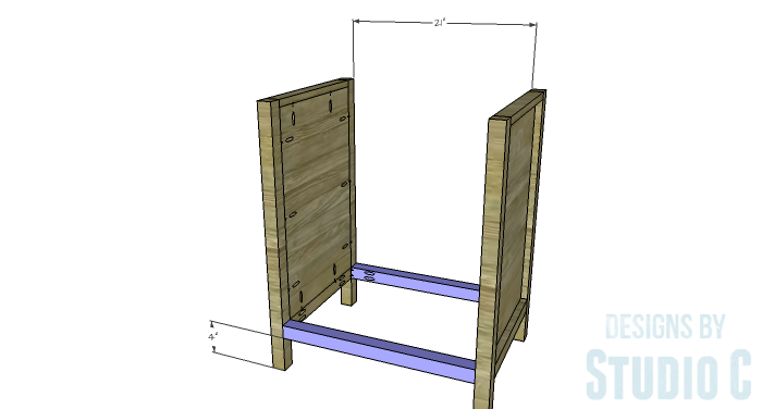 DIY Furniture Plans to Build a Diamond Single Door Cabinet - Lower Stretchers