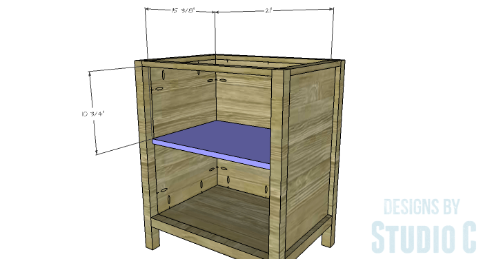 DIY Furniture Plans to Build a Diamond Single Door Cabinet - Shelf