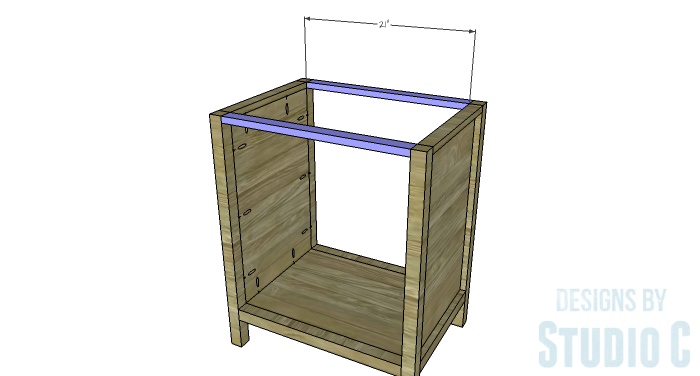 DIY Furniture Plans to Build a Diamond Single Door Cabinet - Upper Stretchers