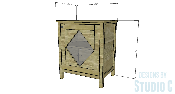 DIY Furniture Plans to Build a Diamond Single Door Cabinet