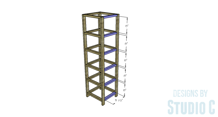 DIY Furniture Plans to Build a Crate Storage Tower - Side Framing 2