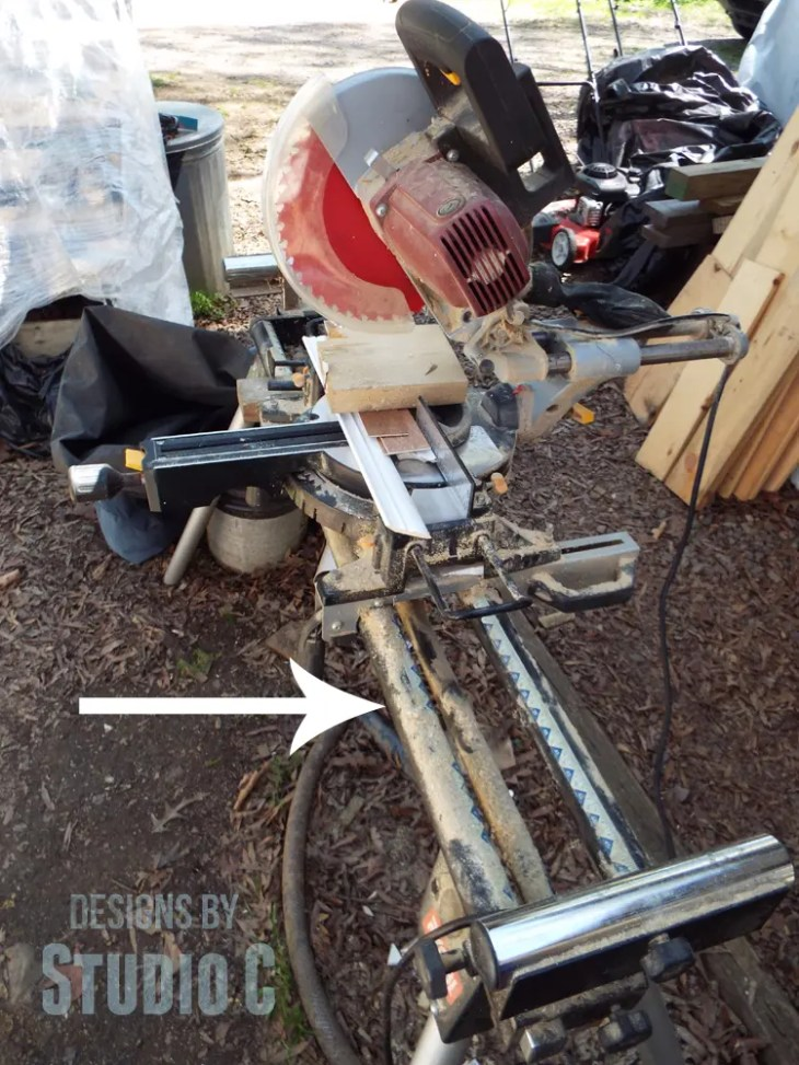 DIY Organizers for a Miter Saw Stand - Miter Saw on Stand