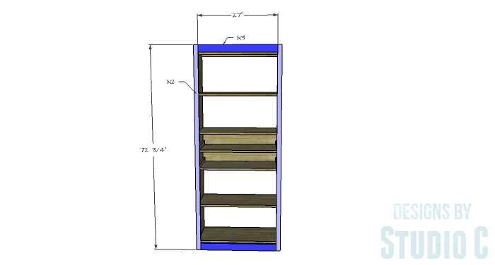 DIY Furniture Plans to Build an Open Bookcase with Drawers - Face Frame