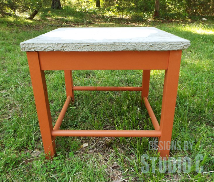 DIY Furniture Plans to Build a Stenciled Concrete Top Table - Front View
