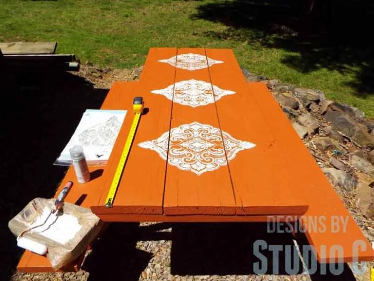 DIY Picnic Table Makeover - White Stencil