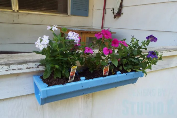 DIY Rain Gutter Planter - Angled View