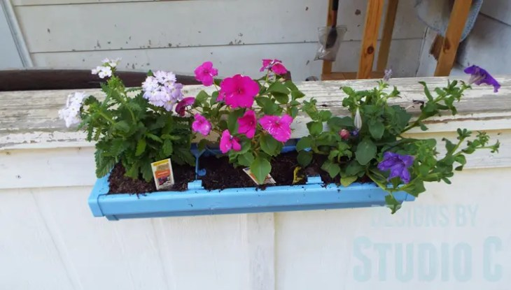 DIY Rain Gutter Planter - Front View