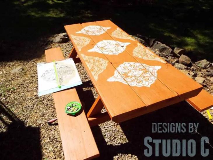 DIY Picnic Table Makeover - Tan Stencil