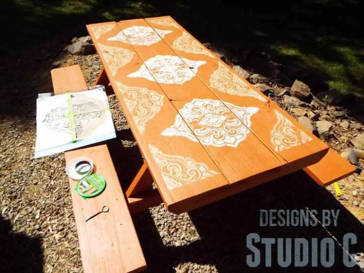 DIY Picnic Table Makeover - Corner Stencil