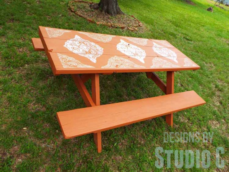 DIY Picnic Table Makeover - Angled View