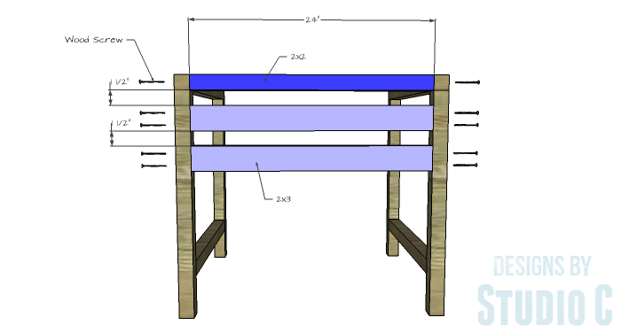 DIY Furniture Plans to Build a Modern Outdoor Chair - Upper Back