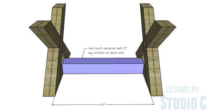 DIY Furniture Plans to Build an X Leg Coffee Table - Leg Stretcher