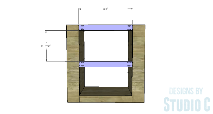 DIY Furniture Plans to Build a Dresser with Side Storage - Back Stretchers