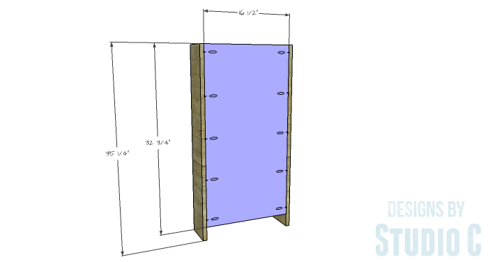 DIY Furniture Plans to Build a Dresser with Side Storage - Sides & Back (Bookcase)