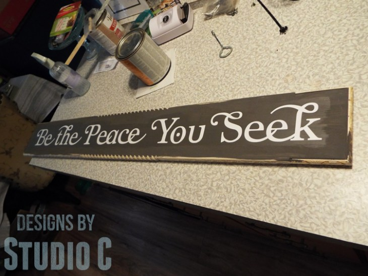 DIY Wall Sign with Scrappy Moulding - Vinyl Lettering
