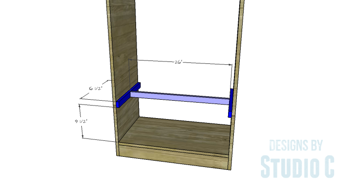 DIY Furniture Plans to Build a Freestanding Open Clothes Wardrobe - Shelf Supports