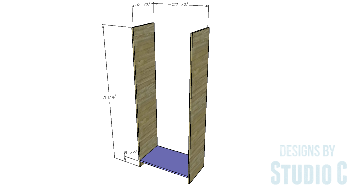 DIY Furniture Plans to Build a Freestanding Open Clothes Wardrobe - Sides & Bottom