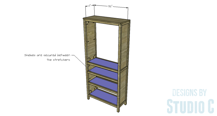 DIY Furniture Plans to Build a Hemnes Inspired Glass Door Cabinet - Lower Shelves