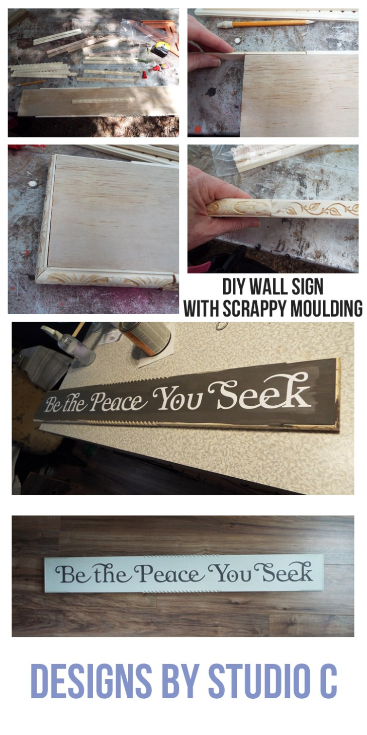 An easy to make wall sign with scrappy moulding on the edges and a reverse stenciled quote. This would make a fabulous gift!