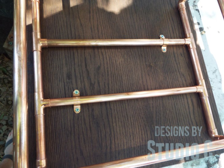 DIY Copper Pipe End Table with a Wood Top - Pipe Straps