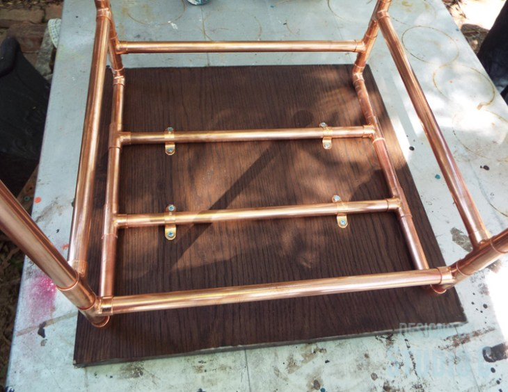 DIY Copper Pipe End Table with a Wood Top - Secured Top