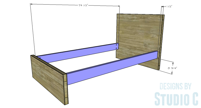 Free Furniture Plans to Build a DIY Ikea Inspired Malm Twin Bed - side-rail-1