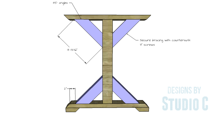 DIY Furniture Plans to Build a Ballard Designs Inspired Tatum Trestle Counter Table-bracing