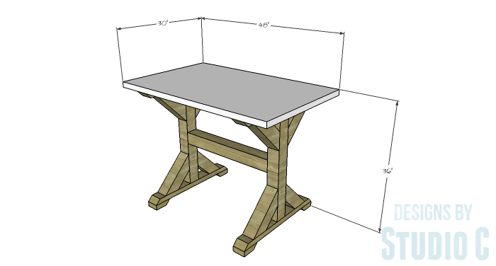 DIY Furniture Plans to Build a Ballard Designs Inspired Tatum Trestle Counter Table