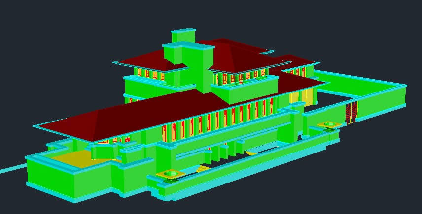 Robie House Frank Lloyd Wright E 3D DWG Full Project For AutoCAD Designs CAD