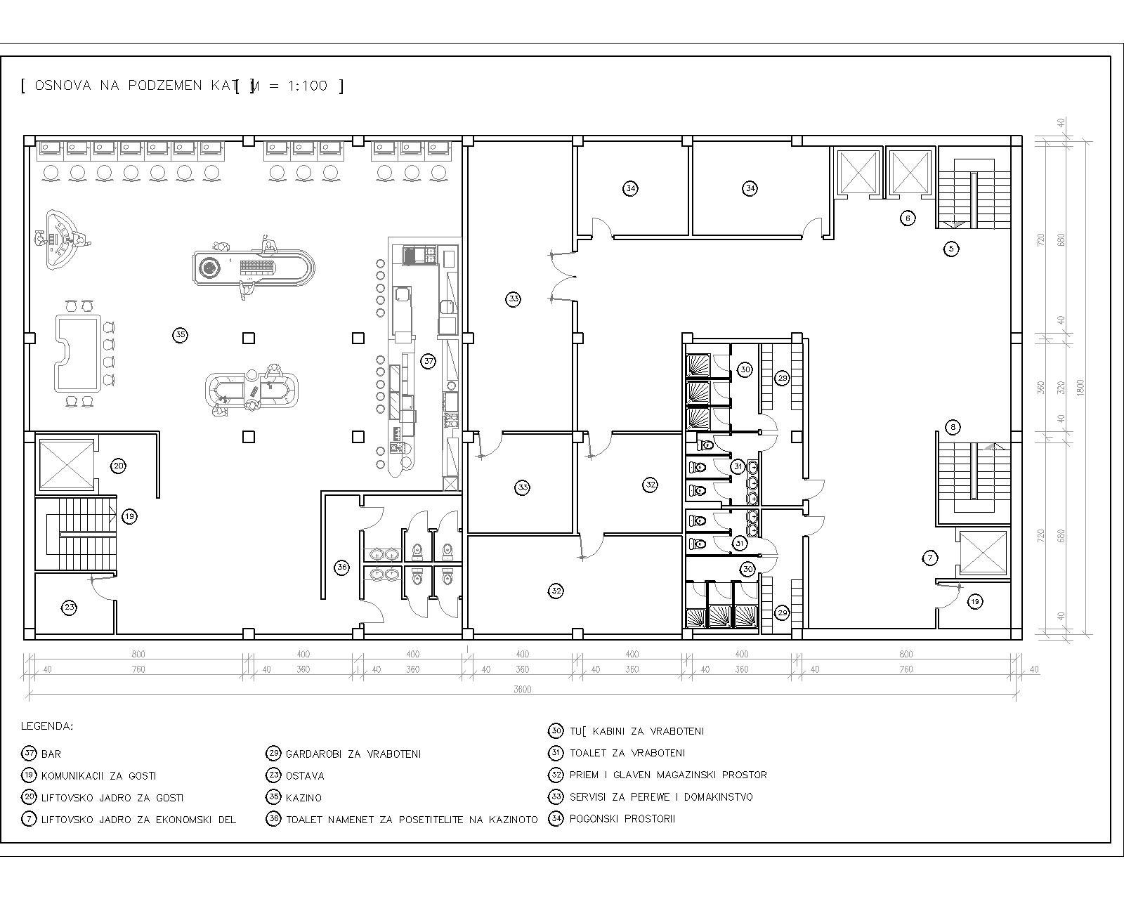 Hotel Plan Including Reception Restaurant Pool Amp Bar