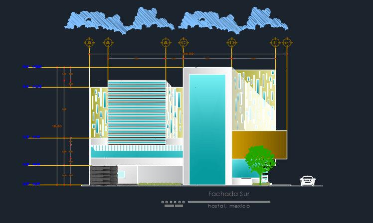 Hostel Elevation 2D DWG Design Plan For AutoCAD Designs CAD