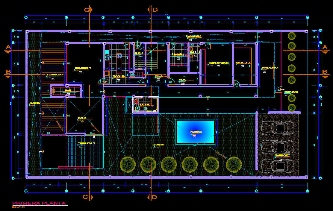 Modern Family House With Pool 2d Dwg Plan For Autocad