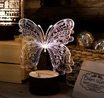 Laser Cut Butterfly 3D Acrylic Light Lamp Free Vector