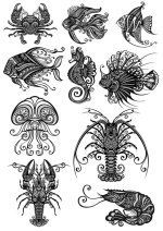 Ornament Sea Amimals Vectors Set Free Vector