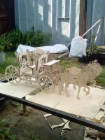 Laser Cut Horse Drawn Carriage 3mm Free Vector