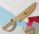 Laser Cut Knife Shaped Wooden Ruler Free Vector