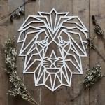 Laser Cut Polygon Lion Wall Art Free Vector