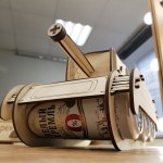 Laser Cut Tank Shaped Beer Can Holder 4mm Free Vector