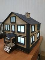 Laser Cut Wooden House Model Free Vector