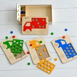 Laser Cut Wooden Shape Puzzles For Toddlers Truck Peg Puzzle Free Vector