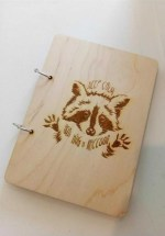 Laser Engraving Raccoon On Notebook DXF File